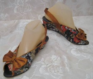 Wedge Sandals brown textile fiber