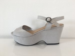 Peeptoe Wedges grau Wildlederimitat