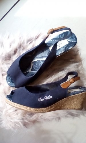 Tom Tailor Denim Wedge Sandals dark blue-brown linen