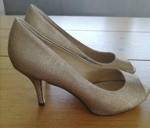 Menbur High-Heeled Toe-Post Sandals gold-colored