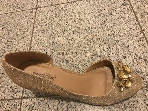 #Peeptoes #Brautschuhe #Gold #mit Strasssteinen #sehr bequem
