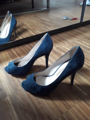 Buffalo Peep Toe Pumps steel blue leather