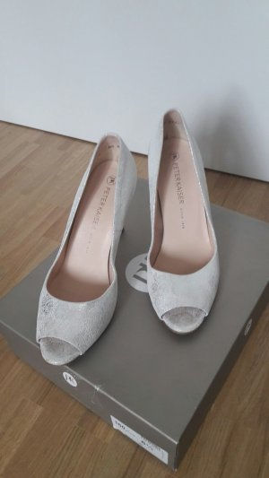 Peter Kaiser Peep Toe Pumps silver-colored-white leather