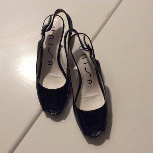 Peeptoes der Marke Unisa, Lack schwarz, Größe 38