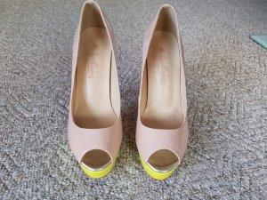 Peeptoes in Lackleder beige/pink