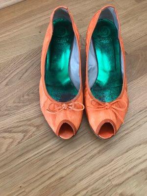 Ursula mascaró Peep Toe Ballerinas neon orange