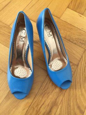 Peeptoes in tollem Blau, Größe 36, nie getragen