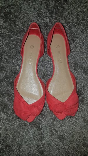 Promod Bailarinas con tacón con punta abierta rojo claro