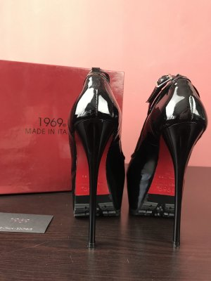 Peeptoes sexy plateau pumps 1969 Italy Leder rote Sohle