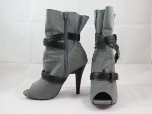 3 Suisses Peep Toe Booties grey imitation leather