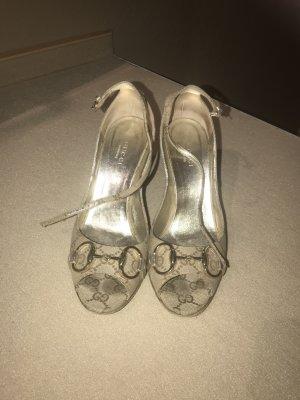 Gucci Pumps met sleehak beige-brons Linnen