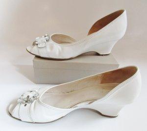 Peeptoes Weiß mit Strass Gabor Fashion Größe 6 39 Sandaletten Pumps Brautschuh Leder Wedges