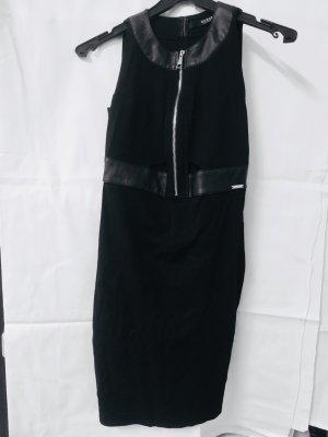 Guess Vestido negro-color plata Poliéster