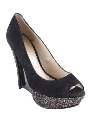 Pelle moda Keil-Pumps schwarz extravaganter Stil