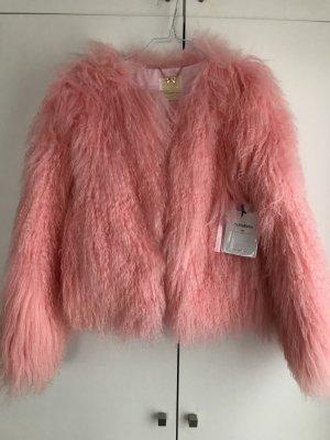 Giacca di pelliccia rosa