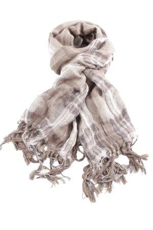 Pelo Écharpe à franges crème-gris clair motif à carreaux style décontracté