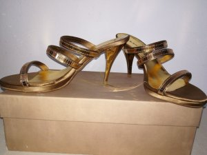Heel Pantolettes gold-colored leather