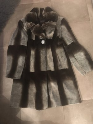 Pompöös Pelt Coat silver-colored-dark brown