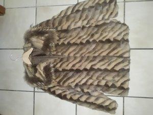 Pelzen jack zilver-grijs-bruin