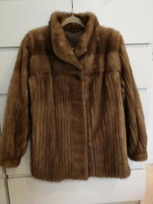 Kara Manteau de fourrure brun-brun foncé