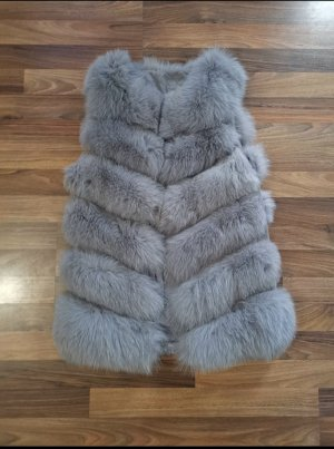 Fur vest light grey-white