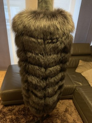 Fur vest black-anthracite