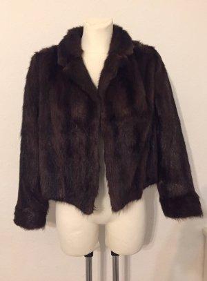 Giacca di pelliccia marrone scuro-marrone-nero