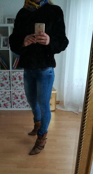 Pelzen jack donkerbruin-zwart bruin
