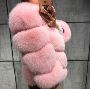Pelzjacke Felljacke Fuchspelz Fur rosa pink babyrosa pastel