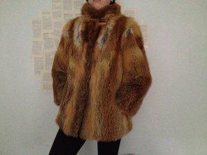 Fur Jacket cognac-coloured-natural white fur