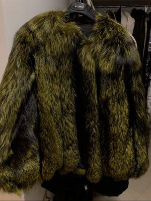 Abrigo de piel verde bosque-negro