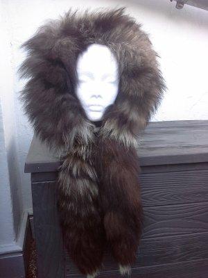 Hooded Scarf black brown-oatmeal fur