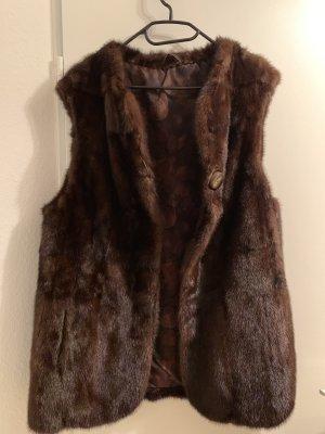 Abrigo de piel marrón-negro-marrón