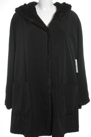Abrigo de piel negro-marrón mullido