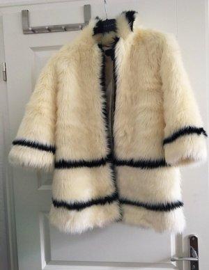 H&M Abrigo de piel blanco puro-negro