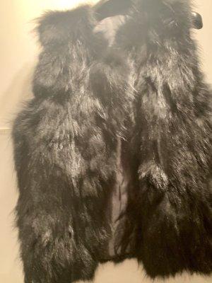 Veste de fourrure noir-gris anthracite fourrure