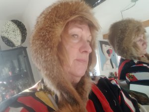Fur Hat cognac-coloured-brown red