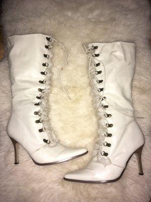 Botas de nieve marrón claro-blanco