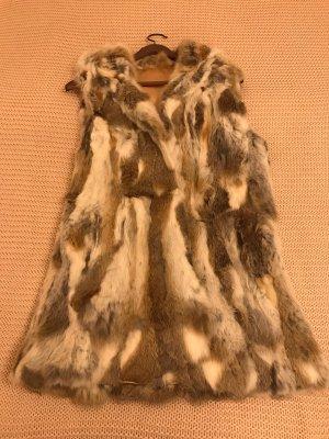 Smanicato di pelliccia marrone chiaro-bianco
