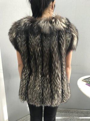 Pelzen jack grijs-zwart
