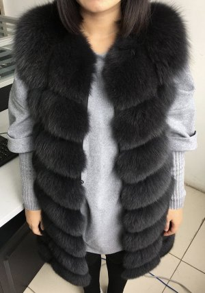 Pelzweste Fellweste schwarz Echtfell