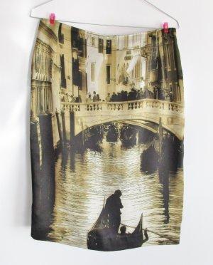 Pencil Rock Skirt Alba Moda Größe M 38 Venedig Satin 3D Print Druck Muster Stretch Sexy Minirock