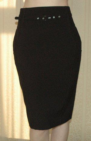 Pencilskirt business Rock Gr. 36 S schwarz + Gürtel retro neu knielang gothic