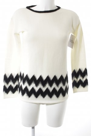 Pennyblack Wool Sweater black-natural white zigzag pattern classic style