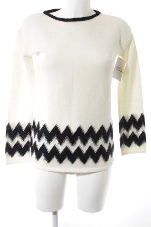 Pennyblack Maglione di lana nero-bianco sporco motivo a zig-zag stile classico