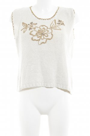 Pensato Knitted Twin Set cream-light brown flower pattern Rivet elements