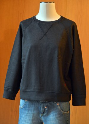 (+)people Sweatshirt Sweater Gr.M Schwarz beschichtet Lederlook Etikett Pullover Pulli