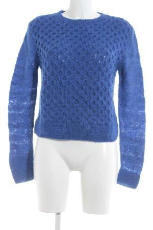People tree Pullover a maglia grossa blu acciaio punto treccia stile casual