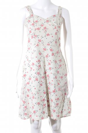 People tree Pinafore dress oatmeal-bright red flower pattern casual look
