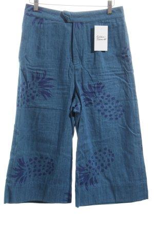 Pepaloves Hoge taille broek staalblauw-donkerblauw prints met een thema